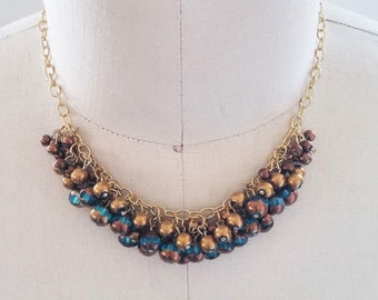 Teal and Gold Cluster Necklace