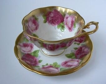 Vintage Royal Albert Roses Heavily Gilt Teacup and Saucer Bone China England