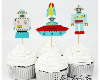 12pcs Spaceship Alien Robot Cupcake Topper Picks. Food Picks Party Supplies Tableware Decorations