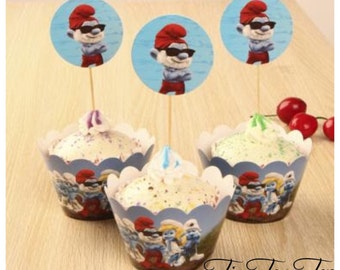 12pcs The Smurfs Cupcake Toppers + Wrappers. Smurf Party Supplies