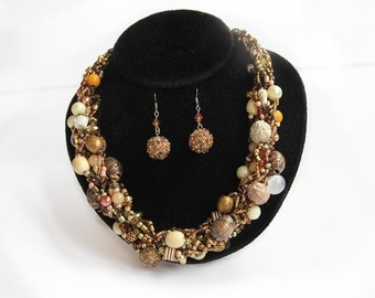 Rustic Brown Necklace and Rustic Brown Drop Earrings Chunky Necklace Bib Necklace Jewelry Set Bride Necklace Brown Jewelry