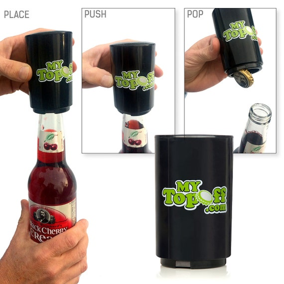 1 black push down bottle opener with magnetic cap catcher. Black Bedroom Furniture Sets. Home Design Ideas