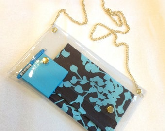 Simple elegant clear purse with gold chain strap