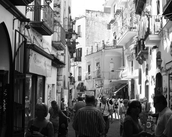 Street in Amalfi 2: Black and White Photographic Print