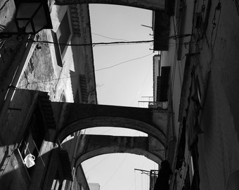 Street in Amalfi 3: Black and White Photographic Print