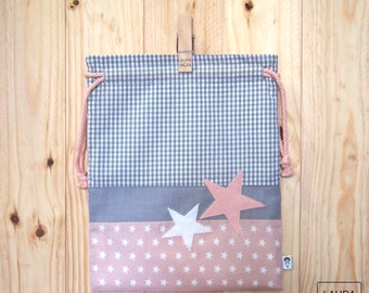 """bag child star - grey and pink snack / lunch baby bag """"star"""" - grey & pink"""