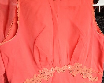 Vintage Coral Polyester Gown