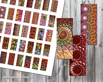 Digital Collage Sheet - Instant Download - Rectangle Size 15x30mm + 16x40mm + 10x22mm Printable Images - Fractal Spirals