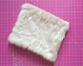 Pink Fluffy Faux Fur Handmade Zipped Lined Make-up Bag Clutch
