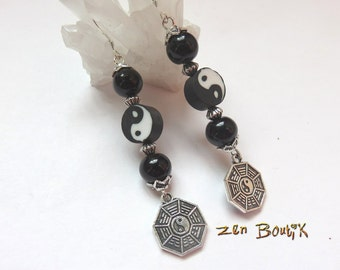 Yin Yang Tao Ba Gua black and white jewelry Zen Zen gift, I Ching, Feng Shui, Zen Boutik jewelry earrings