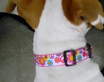 Pink Peace Sign Dog Collar