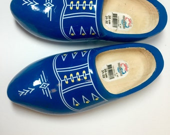 Blue Wooden Dutch Shoes Made in Holland