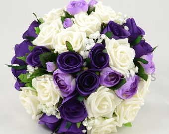 Artificial Wedding Flowers, Purple & Ivory Brides Bouquet Posy with Ranunculus