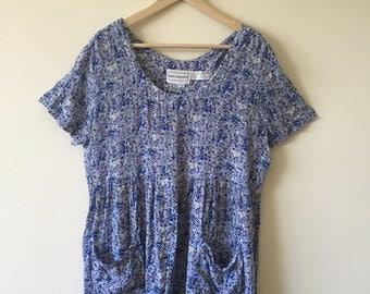 Vintage blue floral mini dress