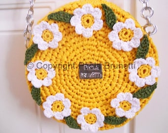 Natural raffia yellow bag with white flowers