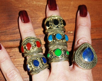 Afghan Kuchi Ring Tribal Colorful Fun Stackable Ring Gypsy Hippie Boho Festival Ring