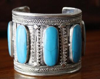 Turquoise Kuchi Cuff Bracelet Vintage Afghan Tribal Cuff Boho Bohemian Gypsy Hippy Belly Dance Cuff Bracelet