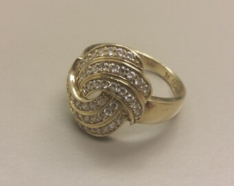 14K Yellow Gold Ring With CZ's