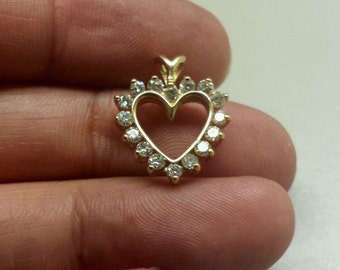 14K Yellow Heart Pendant With Diamonds