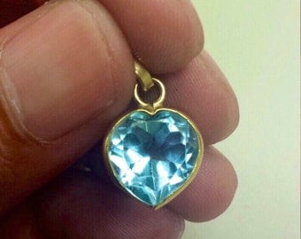 18K Yellow Gold Heart Pendant or charm, With Aquamarine