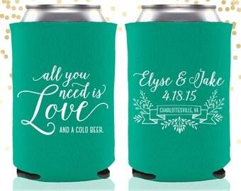 All You Need is Love Custom Wedding Can Cooler Beer Cozy Favor
