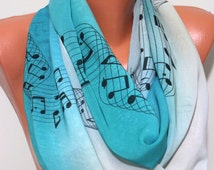 Music Notes Scarf Infinity Scarf Musical Note Scarf Art Print Scarf Women Fashion Accessories Gifts for Her