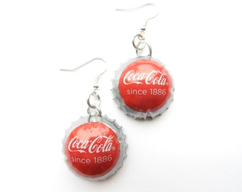Coca Cola / Coca Cola light / Coca cola zero soda bottle cap earrings - recycle - upcycle