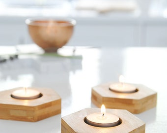 Bamboo candle holders - set of three