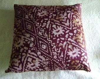 """African Batik Maroon Print 16"""" Pillow"""