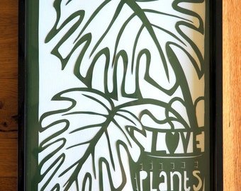 Love Plants - original papercut (framed)
