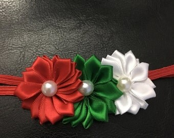 Red/Green/White Flower Baby Headbands, Pearl Center Headband, Christmas Hairbands, Christmas Headband, Flower Headband, 3 Flower Headbands