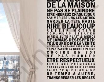 Les Règles de la maison V4 - Wall Decal Quote