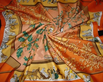 """HERMES Silk Scarf """"Old snow"""" by Cathy Latham. Hermes collector"""