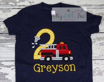 Fire Truck Birthday Shirt, Firetruck Birthday Shirt, Boys Birthday Shirt, Firetruck Birthday-personalized