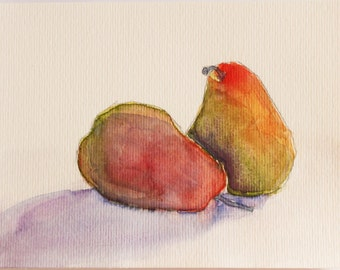 Original Watercolor Pear Painting, Bright Pears, Kitchen Art, House Warming Gift