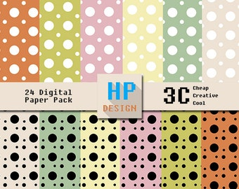 Polkadot Vintage Color Digital Paper Pack