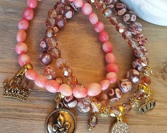Coral, Natural stone and Czech glass 3 piece beaded bracelet set 123-28