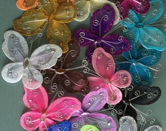 12 pcs. 3 inch Nylon Organza Butterflies Wedding Butterfly & Party Decor 3""