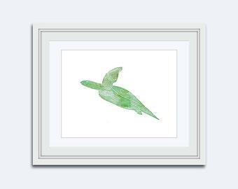Sea Turtle Printable - sea life prints - beach decor - Sea life theme - Sea Turtle Art Print - watercolor turtle - printable - Printable Art
