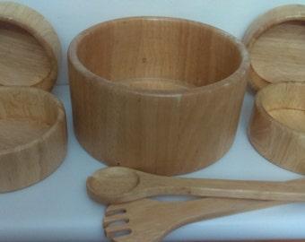 Vintage Wooden Salad Bowl Set Hand Made