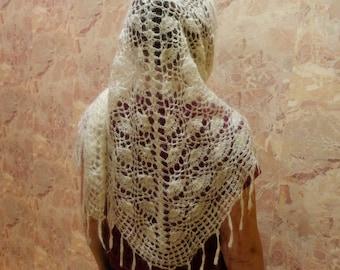 Vintage Orenburg Downy Lace Kerchief, Russian goat downy lace shawl, triangular shawl, hand knitting