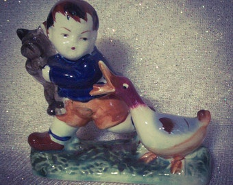 Figurine of Boy, Goose, and Puppy  OCCUPIED JAPAN  in Excellent Condition