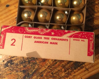 Gold Vintage mercury glass Christmas ornaments