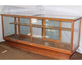 F4440 Antique Circa 1800's - 1900's American Quartersawn Oak Mercantile Store Counter Display Cabinet Case