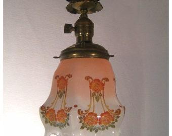 A7267 Antique Pair of Iron & Brass Art Nouveau Pendants Ceiling Light Fixtures