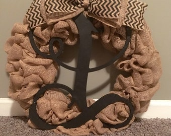 Burlap wreath with vine letter **FREE SHIPPING!!!!**