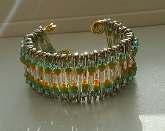 Unique Green, Orange, and White Safety-Pin Cuff Bracelet ( Makes A Great Gift! )