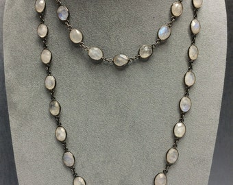 Long Moonstone and Silver Necklace