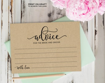 Advice Cards, Wedding Advice Template, Advice Printable, Advice for Bride and Groom | No. EDN 5128A