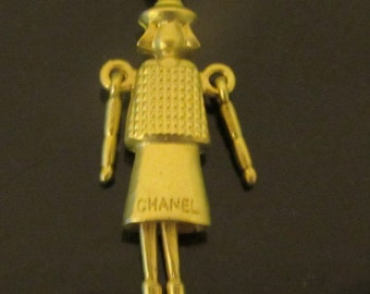 Vintage Chanel charm lady Coco quilted charm pendant gold tone